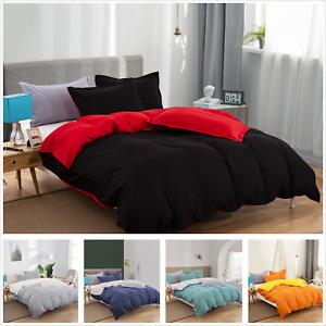 Soft Reversible 1000TC Quilt Doona Duvet Cover Set Double/Queen/King Size Solid