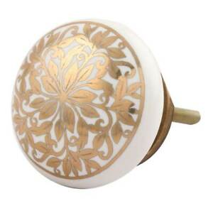 Hand crafted Ceramic Knobs drawer pulls cupboard door knobs  white and Gold
