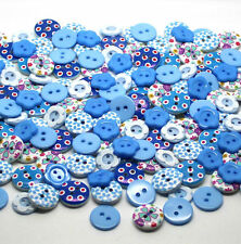 100 x QUALITY MIX BLUE WOODEN & RESIN BUTTONS SCRAP BOOKING EMBELISHMENTS SEWING