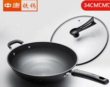 34cm Japanese Brand Outer Marble Coating & 100% Pure Iron Steel Base Fry Pan AU