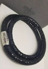 ENDLESS JEWELRY JLo Black Leopard Leather Double Wrap Charm Bracelet 40cm NEW