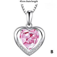 Sterling Silver Heart Crystal Stone Pendant Chain Necklace Womens Jewellery New