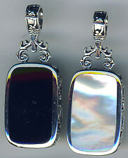 925 Sterling Silver Black Onyx & White Mother of Pearl Reversible Pendant 1.3/4""