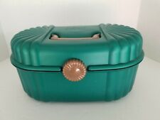 VTG Sassaby Green Make-up Case Travel Jewelry  Padded Pockets Zippers Mirror