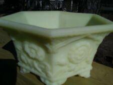 Fenton Satin Yellow Custard Glass Hexagonal Footed Vase/Bowl with Flowers