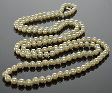 VTG KISSAKA FAUX PEARL GLASS BEAD LARIAT NECKLACE 60""