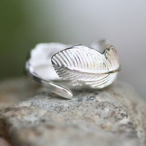 Wide Feather Adjustable Size Ring Sterling Silver 925 , Size 3 and Up  Canada