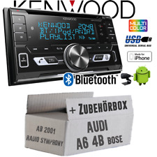 Kenwood Autoradio für Audi A6 4b ab 2001 Bose Bluetooth USB Apple Android Set