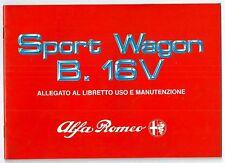 1990 ALFA ROMEO 33 SPORT WAGON B. 1.7 16V - 4X4 allegato uso manutenzione