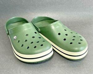 CROCS Unisex -Mens 10 -Women 12 w/ Rotating Heel Strap Dark Green LIKE NEW