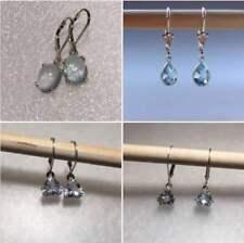 Sterling Silver Natural Aquamarine Earrings Dangle Lever Back Earrings *VARIETY*