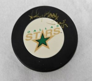 Andy Moog Dallas Stars Signed Hockey Puck JSA Authenticated