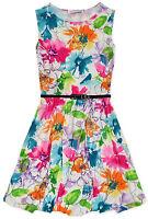 Girls Sleeveless Vibrant Summer Floral Belted Skater Dress New Kids 5-13 Years