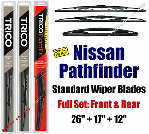 Wiper Blades 3-Pack Front Rear - fit 2013+ Nissan Pathfinder - 30260/170/12J