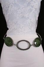 """New Women Belt Fashion Silver Metal Chains Hip Big Leopard Oval XS S M L 24""""-42"""""""