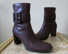 Bass Bonita Burgundy Leather High Heel Buckle Strap Side Zip Ankle Boots Sz 8.5M