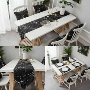 Marble Printed Table Runner Placemat Table Cover Dining Party Kitchen Home Decor
