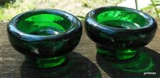 """Set of 2 Heavy Green Glass Taper Candle Holders 3"""" Diameter Russia"""