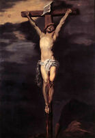 Large Oil painting Anthony van Dyck - Christ on the Cross in moon night canvas