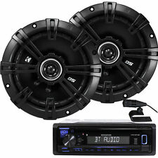 "Kenwood KDC-BT22 200W Receiver +Kicker 1-PAIR 6.5"" 2-Way DS Series 240W Speakers"