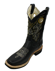 Men/'s ReyWelt Gray Black Square Toe Leather Western Cowboy Boots