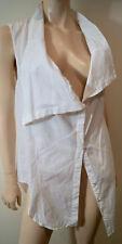 HELMUT LANG White 100% Cotton Large Collared Sleeveless Blouse Shirt Top M