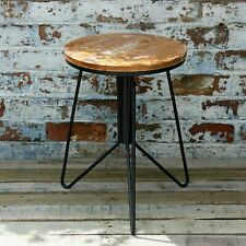 Vintage Industrial Bar Stool Adjustable Tripod Black Cast Iron Frame Wood Seat