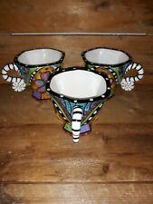 Prospero Designworks Tea Cups Floral Geometric Striped Pattern. Set of 3