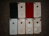 8x Apple iPhone 8 Back Housing Cover Chassis - DAMAGED/ SPARES/ SCRAP/ JOBLOT