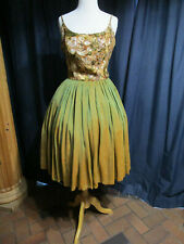 VINTAGE 50'S COCKTAIL DRESS METALLIC BODICE SILK SKIRT FIT AND FLARE AS IS VLV