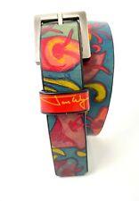 "Jon Wye Handcrafted Leather Belt Post Matisse Flowers Kids Small 20"" - 32"""
