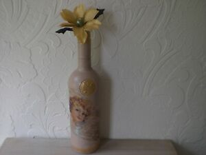 BEIGE  BOTTLE VASE DECOUPAGED WITH CHERUBS