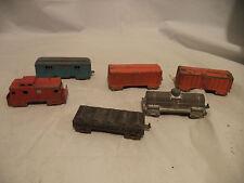 Vintage 1950s Midgetoy Rockford Ill. USA Diecast Metal Train Cars Lot of 6