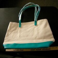 Bloomingdale's Canvas Tote Shopping Bag Off White/Turquoise NWOT Unique & Handy