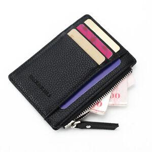 Portable Small PU Wallet Multi Card Slot Zipper Bag Money Card Coin Purse Unisex