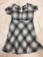 Obey Worldwide Women's Dress Size M Gray Plaid Short Sleeve