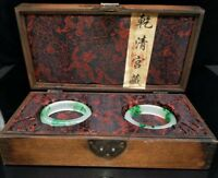 Chinese jade Hand-engraved bracelet A pair + Hand carved dragon box