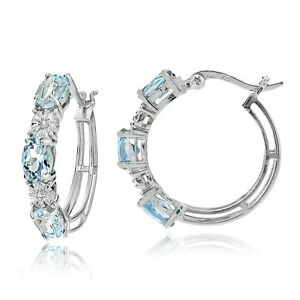 Sterling Silver Oval Blue Topaz and Diamond Accent Hoop Earrings
