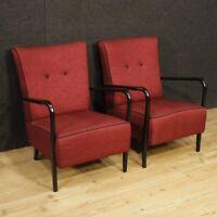Poltrone design mobili coppia sedie italiane tessuto legno Cassina salotto 900