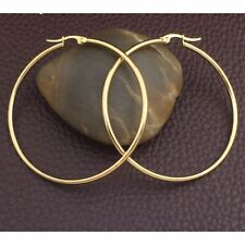 "Ladies Fashion Jewelry 18K Gold Plated 2"" Thin Solid Hoop Earrings"