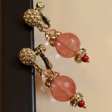 Boucles d`Oreilles Clip Pendante Quartz Rose Boul Original Soirée Mariage A9