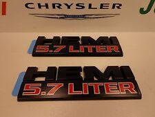 Dodge Ram 1500 2500 3500 5.7L Hemi Flat Black Emblem Nameplate Set of 2 Mopar OE