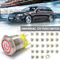 22mm 12V 24V LED Auto Potenza Pulsante Momentanea a Scatto Metallo Su/Spento