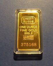 Lingotto ORO - GOLD, CREDIT SUISSE 1 ONCIA, Titolo 999  24kt