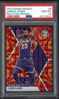 2019-20 Panini Mosaic #8 LeBRON JAMES Reactive Orange PSA 10 GEM MINT