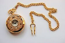 "Men's Filigree Design Gold Tone Pocket Watch with 14"" chain and clip."