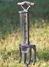 Decorative Rustic Weathered Gray Industrial Fork 5 inch Rain Gauge Garden Stake