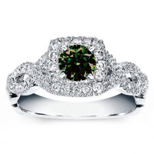 3.19ct vvs1/BROWN GREEN WHITE MOISSANITE DIAMOND ENGAGEMENT .925 SILVER RING 7.5