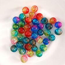 20 perles rondes  8 mm en verre craquelé bi color couleur mélangée-pvc085
