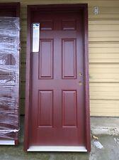 """NEW: Elegant Home 32""""x80"""" Fiberglass Exterior DOOR w/ Mahogany Textured Finish"""